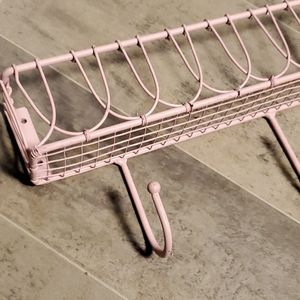 None Accents - Cotton Candy Pink Metal Hook Wall Shelf